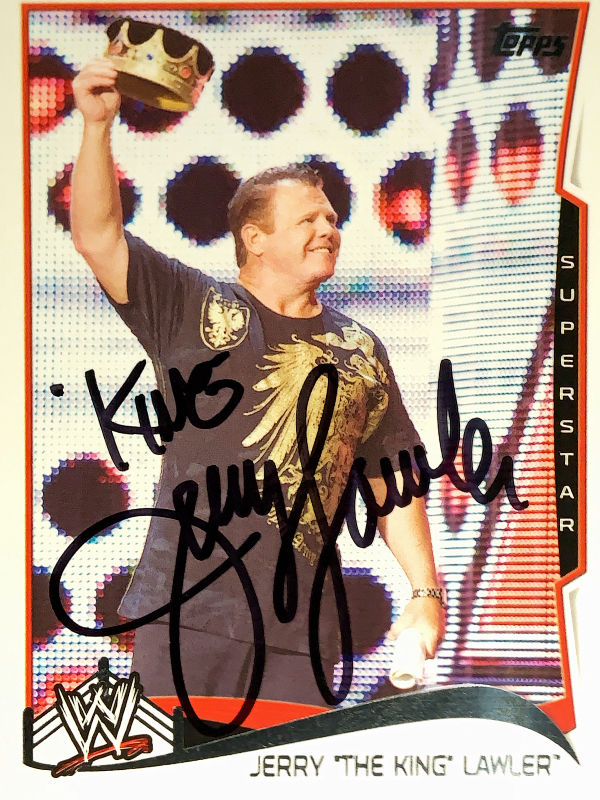 """Jerry """"The King"""" Lawler autographed trading card"""