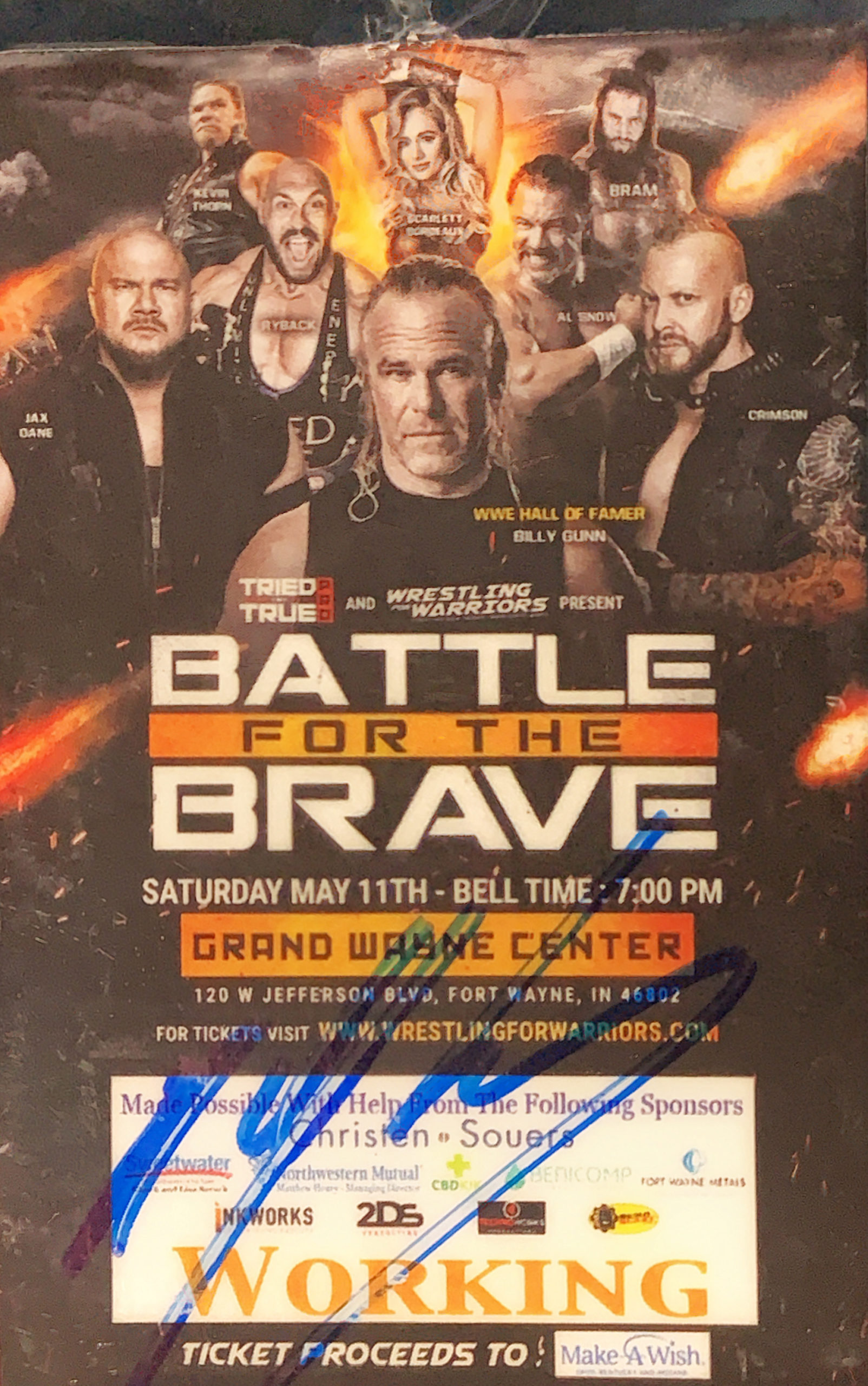 Billy Gunn autographed Battle For The Brave Working Badge