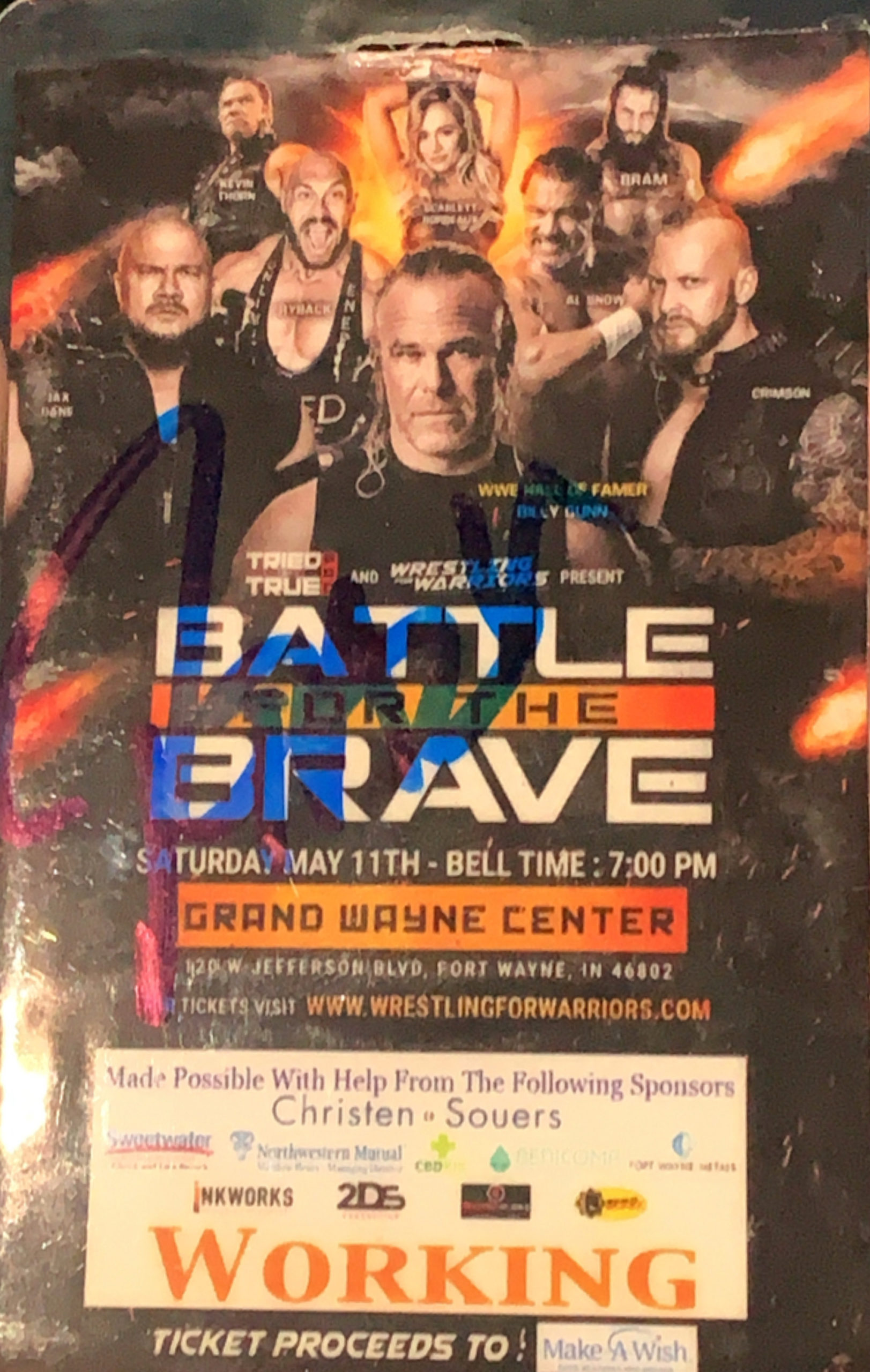 Ryback autographed Battle For the Brave Working Badge